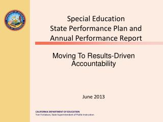 Special Education State Performance Plan and Annual Performance Report