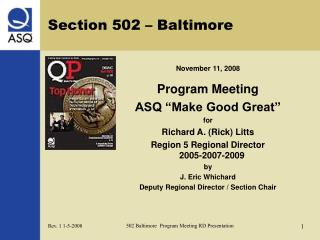 Section 502 – Baltimore