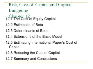 Risk, Cost of Capital and Capital Budgeting Chapter 12