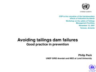 Avoiding tailings dam failures Good practice in prevention