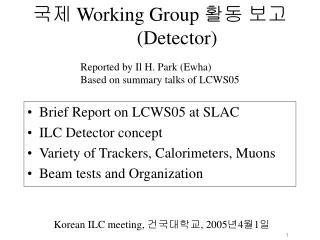국제  Working Group  활동 보고 (Detector)