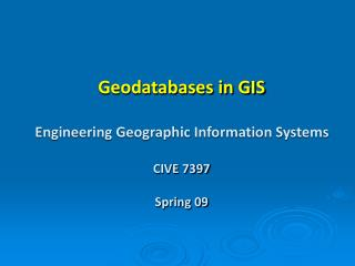 Geodatabases in GIS Engineering Geographic Information Systems CIVE 7397 Spring 09