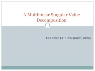 A Multilinear Singular Value Decomposition