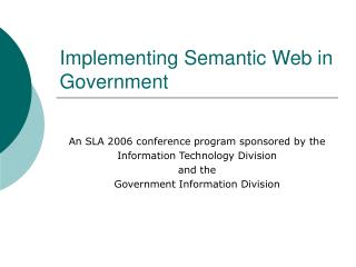 Implementing Semantic Web in Government