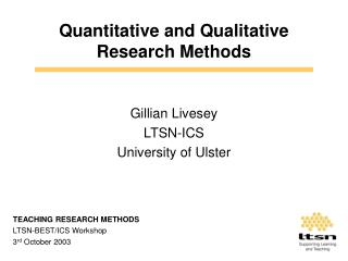 Quantitative and Qualitative Research Methods
