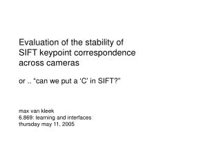 Evaluation of the stability of  SIFT keypoint correspondence across cameras