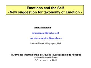 Emotions and the Self  - New suggestion for taxonomy of Emotion -