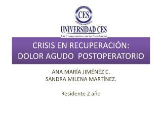 CRISIS EN RECUPERACIÓN: DOLOR AGUDO  POSTOPERATORIO