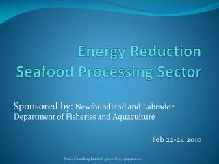 Energy Reduction  Seafood Processing Sector