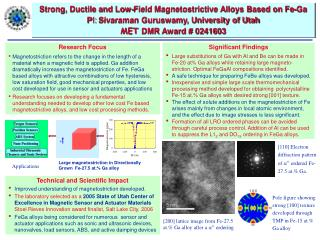 Technical and Scientific Impact Improved understanding of magnetostriction developed.