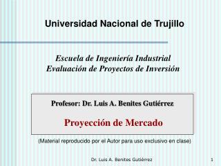 Profesor: Dr. Luis A. Benites Gutiérrez Proyección de Mercado