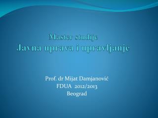 Master studije Javna uprava i upravljanje