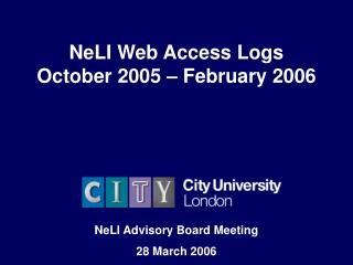 NeLI Web Access Logs October 2005 – February 2006