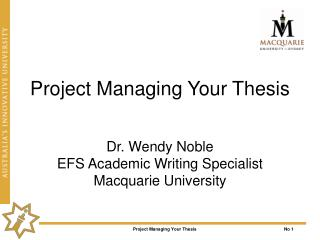 Project Managing Your Thesis