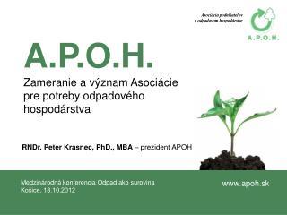 A.P.O.H. Zameranie avýznam Asociácie pre potreby odpadového hospodárstva