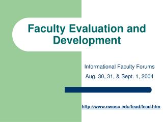 Faculty Evaluation and Development