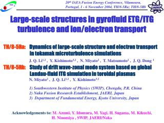 L arge-scale structure s in gyrofluid ETG/ITG turbulence and ion/electron transport