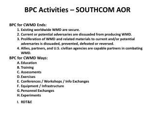 BPC Activities – SOUTHCOM AOR