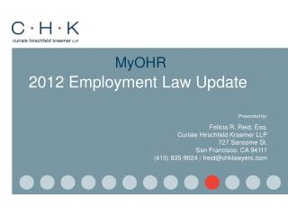 MyOHR 2012 Employment Law Update