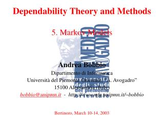 Dependability Theory and Methods 5. Markov Models