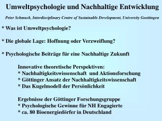 Umweltpsychologie und Nachhaltige Entwicklung