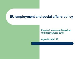 EU employment and social affairs policy