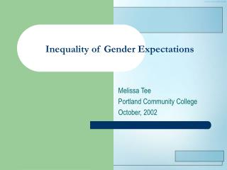Inequality of Gender Expectations