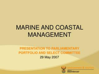 MARINE AND COASTAL MANAGEMENT