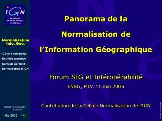 Panorama de la  Normalisation de l'Information Géographique
