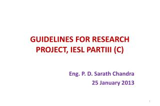 GUIDELINES FOR RESEARCH PROJECT, IESL PARTIII (C)