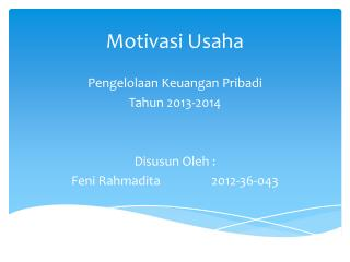 Motivasi  Usaha