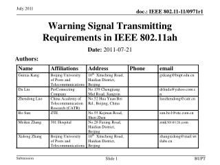 Warning Signal  Transmitting  Requirements  in IEEE 802.11ah