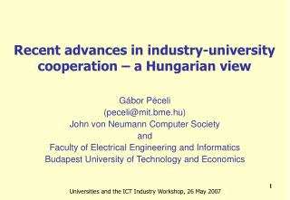 Recent advances in industry-university cooperation – a Hungarian view