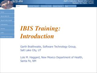 IBIS Training: Introduction