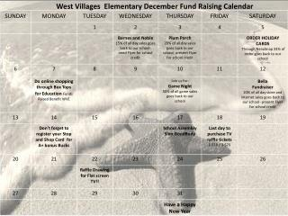 West Villages  Elementary December Fund Raising Calendar