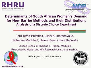 Fern Terris-Prestholt, Lilani Kumaranayake,  Catherine MacPhail, Helen Rees, Charlotte Watts