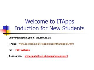 Welcome to ITApps  Induction for New Students