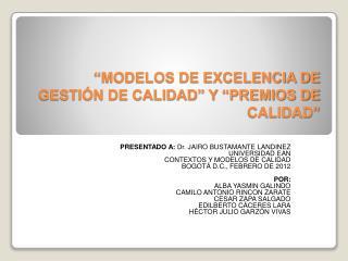 """""""MODELOS DE EXCELENCIA DE GESTIÓN DE CALIDAD"""" Y """"PREMIOS DE CALIDAD"""""""