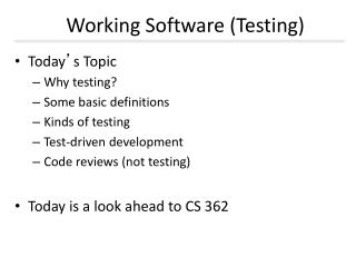 Working Software (Testing)