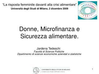Donne, Microfinanza e Sicurezza alimentare.