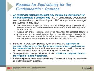 Request for Equivalency for the Fundamentals 1 Courses