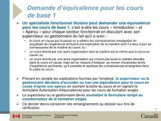 Demande d'équivalence pour les cours de base 1