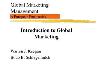 Global Marketing Management A European Perspective