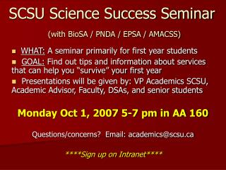 SCSU Science Success Seminar (with BioSA / PNDA / EPSA / AMACSS)