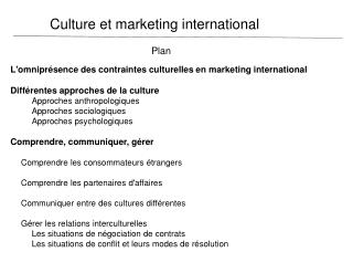 Culture et marketing international