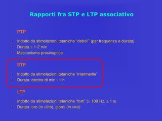 Rapporti fra STP e LTP associativo