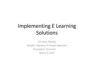 Implementing E Learning Solutions