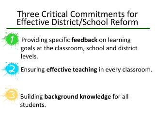 Three  Critical Commitments for Effective District/School Reform