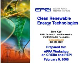Clean Renewable Energy Technologies