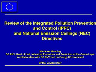 Thematic Strategy on Air Pollution (SO2, NOx, particulate matter, VOC, NH3)